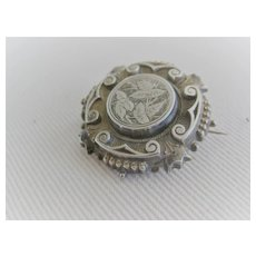 Early 1900s Silver Sculpted Portrait/Mourning Brooch