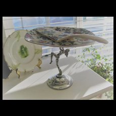 "Chintz ""Midwinter"" Art Deco Cake Stand and Cake Slice"
