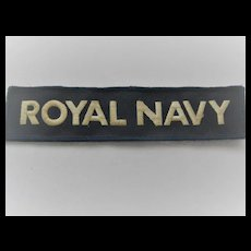 British Royal Navy Embroidered Fabric Bar