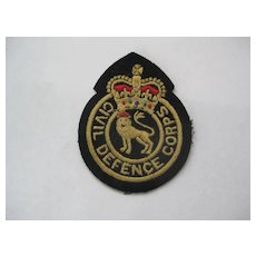 British Embroidered Patch CIVIL DEFENSE CORPS