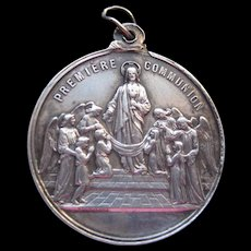 French Silver Baptismal/Communion Medallion