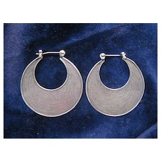 Vintage Silver Hoop Earrings - Pierced