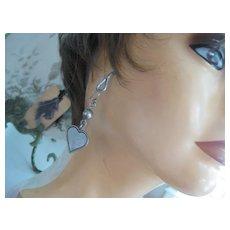 Vintage Heart-shaped Silver Plate Earrings - Pierced