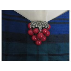 lARGE Vintage red Cherry Dress Clip  AS IS