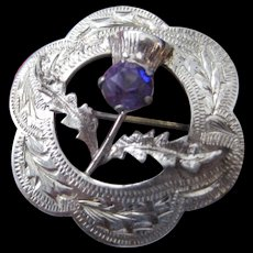 Vintage Scottish Brooch w/Amethyst Thistle