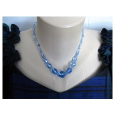 Early 1900s English Crystals Blue w/silver Barrel Clasp