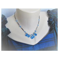 Early 1900s English Crystals Blue W/Metal Bars