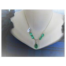 Early 1900s English Bezel Set Crystals Green with GF Chain