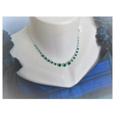 Early 1900s English Necklace w/ Small Green Bezel set Crystals