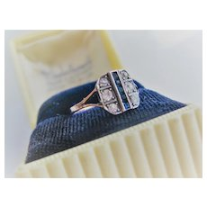Early 1900s English 9ct/Silver Sapphire Ring Size 6