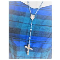 Vintage Blue Beaded Rosary with Gold Colored Crucifix