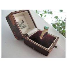 Vintage Emerald 10k Gold Ring, Size 7.5