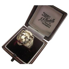 Vintage 14K Gold Lion Ring, Diamond Eyes, Ruby Tongue