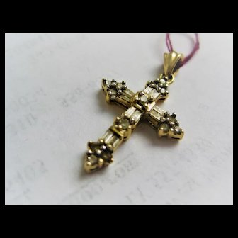 Adorable 14k Gold/Diamond Cross
