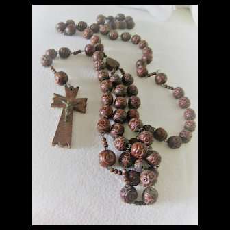 64 Inch Vintage  Lourdes Rosary with Wonderful Patina