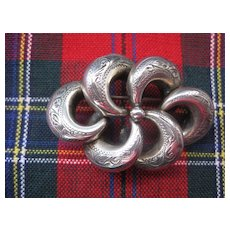Victorian Love Knot Brooch Engraved Silver