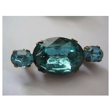Pretty Vintage Brooch with Vibrant Blue/Green Stones
