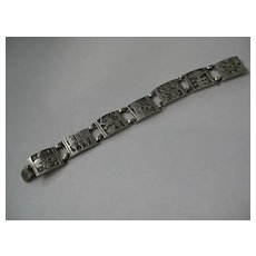 Beautiful Detailed French Silver Bracelet, Lions & Fleur de lis
