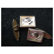 Vintage Sulphide Cufflinks Dog Heads
