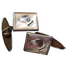 Vintage Sulphide Cufflinks Dog Heads
