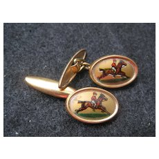 Vintage Cufflinks - Jockey on Horseback - gold background