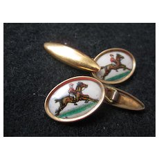 Vintage Cufflinks, Jockey on Horseback -White Background