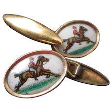 Vintage Cufflinks, Jockey on Horseback -White Background
