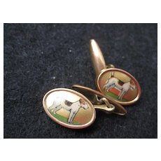 Vintage Cufflinks Terrier Dog on Gold Background