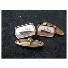 Vintage Cufflinks - Queen Mary Liner - lovely Condition