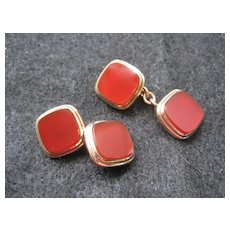 Vintage Carnelian Gold-Filled Cufflinks - Double Sided