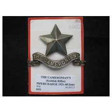 Vintage Cameronians Piper's Badge