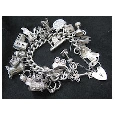 Fabulous Heavy English Silver Charm Bracelet w Heart Closure