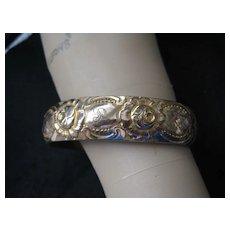 "1920s Gold Filled Ornate Bangle, Initials ""R"" (Hinged)"