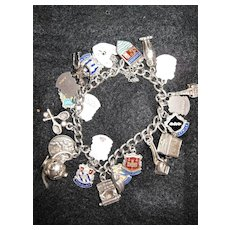 Vintage English Silver Charm Bracelet - UK Travels!