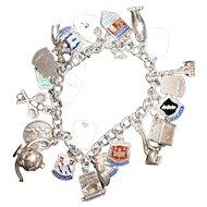 Vintage English Silver Charm Bracelet - UK Travels!