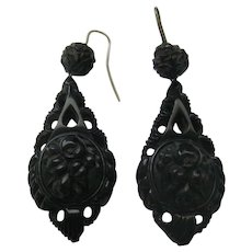 Victorian Whitby Jet Carved Earrings