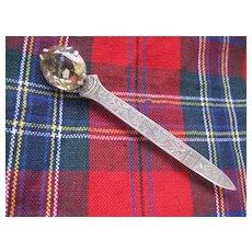 Fabulous Victorian Kilt Pin, Citrine w engraved silver 3 1/2 ins