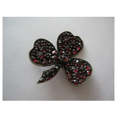 Early Vintage Garnet Irish Shamrock Pin