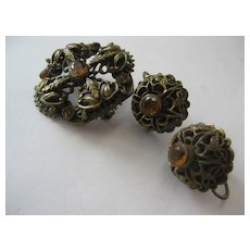 Vintage Brooch and Earrings Set (Screw backs)
