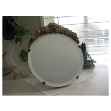 """Vintage English Barbola Mirror """"Forget-me-Knots"""" 9 ins tall"""