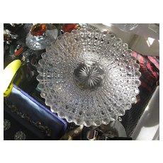 Set of 6 Vintage Heavy Cut Glass Dessert Plates 5 1/2 ins wide