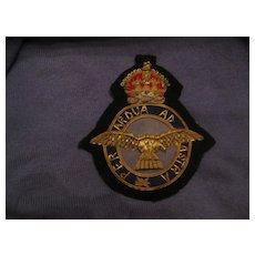 Vintage Royal Air Force Bullion Badge
