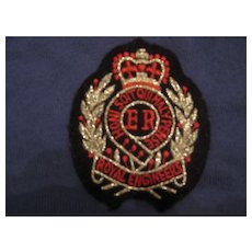British ROYAL ENGINEERS Silver Thread Patch