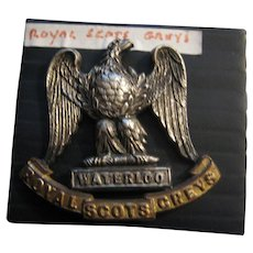 Vintage Royal Scots Greys Waterloo Badge