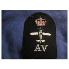 Vintage British Military Patch-Silver Thread