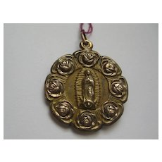 Vintage Religious Medallion with Roses