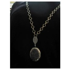 Long Vintage Chain with Removable Large English Medal