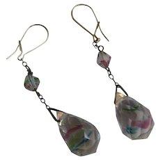 Vintage Aurora Borealis Crystal Earrings w/wires