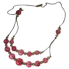 1920s Pink English Crystal Double Strand Necklace