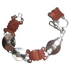 Beautiful Scottish Victorian Silver/Agate Bracelet